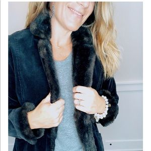 Black corduroy blazer w/ faux fur accents